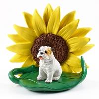 Bulldog White SUNFLOWER FIGURINE