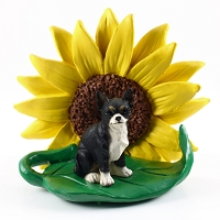 Chihuahua Black & White SUNFLOWER FIGURINE
