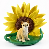 Chihuahua Tan & White SUNFLOWER FIGURINE