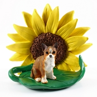 Chihuahua Brindle & White SUNFLOWER FIGURINE