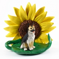 German Shepherd Tan & Black SUNFLOWER FIGURINE
