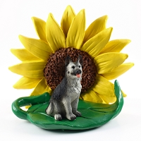 German Shepherd Black & Silver SUNFLOWER FIGURINE