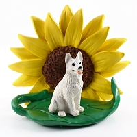 German Shepherd White SUNFLOWER FIGURINE