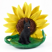 German Shepherd Black SUNFLOWER FIGURINE