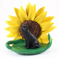 Great Dane Black w/Uncropped Ears SUNFLOWER FIGURINE