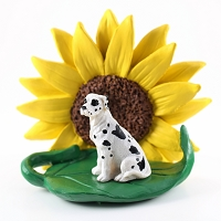 Great Dane Harlequin w/Uncropped Ears SUNFLOWER FIGURINE