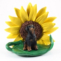 Doberman Pinscher Black w/Uncropped Ears SUNFLOWER FIGURINE