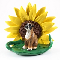 Boxer w/Uncropped Ears SUNFLOWER FIGURINE