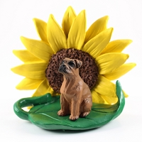 Boxer Tawny w/Uncropped Ears SUNFLOWER FIGURINE