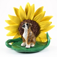 Boxer Brindle w/Uncropped Ears SUNFLOWER FIGURINE