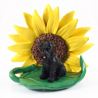 Schnauzer Black w/Uncropped Ears SUNFLOWER FIGURINE