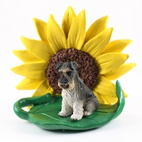 Schnauzer Gray w/Uncropped Ears SUNFLOWER FIGURINE