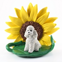 Poodle White w/Sport Cut SUNFLOWER FIGURINE