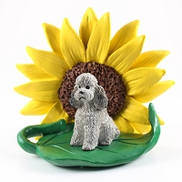 Poodle Gray w/Sport Cut SUNFLOWER FIGURINE