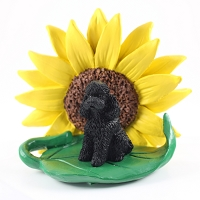 Poodle Black w/Sport Cut SUNFLOWER FIGURINE