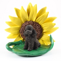 Poodle Chocolate w/Sport Cut SUNFLOWER FIGURINE