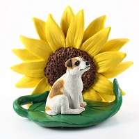 Jack Russell Terrier Brown & White w/Smooth Coat SUNFLOWER FIGURINE