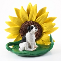 Jack Russell Terrier Black & White w/Smooth Coat SUNFLOWER FIGURINE
