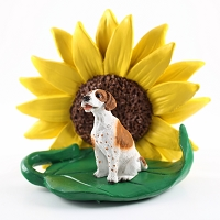 Pointer Brown & White SUNFLOWER FIGURINE