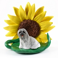 Lhasa Apso Gray SUNFLOWER FIGURINE