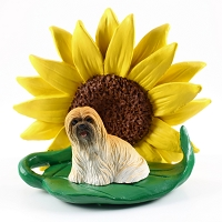 Lhasa Apso Brown SUNFLOWER FIGURINE