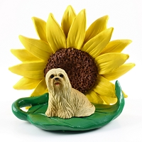 Lhasa Apso Blonde SUNFLOWER FIGURINE