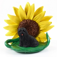 Lhasa Apso Black SUNFLOWER FIGURINE