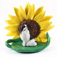Japanese Chin Black & White SUNFLOWER FIGURINE