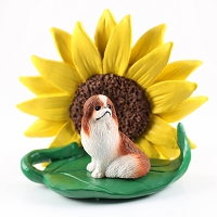 Japanese Chin Red & White SUNFLOWER FIGURINE