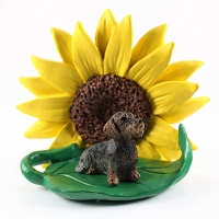 Wire Haired Dachshund SUNFLOWER FIGURINE