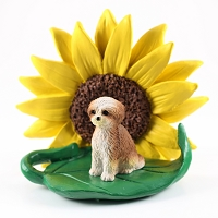 Shih Tzu Tan w/Sport Cut SUNFLOWER FIGURINE