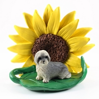 Lhasa Apso Gray w/Sport Cut SUNFLOWER FIGURINE