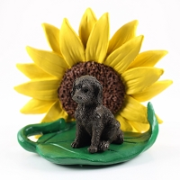 Labradoodle Chocolate SUNFLOWER FIGURINE
