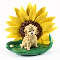 Cockapoo Blond SUNFLOWER FIGURINE