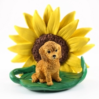 Goldendoodle SUNFLOWER FIGURINE
