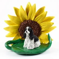 Cocker Spaniel Black & White SUNFLOWER FIGURINE