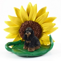 Cocker Spaniel Black & Tan SUNFLOWER FIGURINE