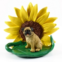 Pug Fawn SUNFLOWER FIGURINE