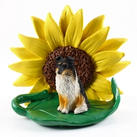 Sheltie Tricolor SUNFLOWER FIGURINE
