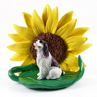 Springer Spaniel Liver & White SUNFLOWER FIGURINE