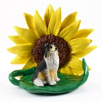 Collie Tricolor SUNFLOWER FIGURINE