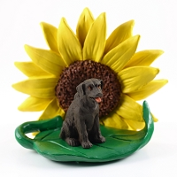 Labrador Retriever Chocolate SUNFLOWER FIGURINE