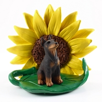 Doberman Pinscher Red w/Cropped SUNFLOWER FIGURINE