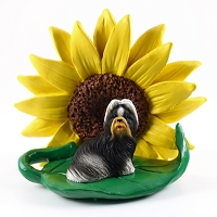 Shih Tzu Black & White SUNFLOWER FIGURINE