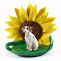 Brittany Brown & White Spaniel SUNFLOWER FIGURINE
