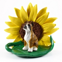 Boxer Brindle SUNFLOWER FIGURINE
