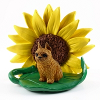 Brussels Griffon Red SUNFLOWER FIGURINE