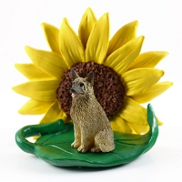 Norwegian Elkhound SUNFLOWER FIGURINE