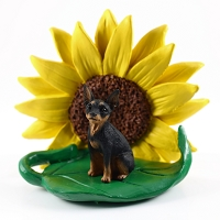 Miniature Pinscher Tan & Black SUNFLOWER FIGURINE