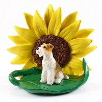 Wire Fox Terrier Red SUNFLOWER FIGURINE